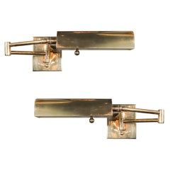 Mid-Century Modernist Swing Arm Brass Sconces by Boyd Lighting