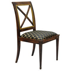 Neoclassical Style X Back Gold Gilt Hand-Painted Rosewood Grain Desk Side Chair
