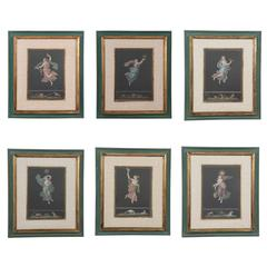 Six hand-colored engravings, after Raphael, 19th Century