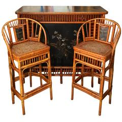 Vintage Bamboo Bar with two Complementary Stools