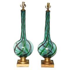 Pair of Tall Murano Seguso Lamps