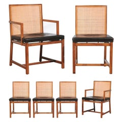 Restored Set of 6 Cane Dining Chairs by Michael Taylor for Baker