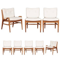 Chic Restored Set of Eight Cerused Mahogany Dining Chairs by John Keal