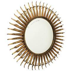 French 1960s Gilt Iron Eyelash Double Layered Round Sunburst Mirror