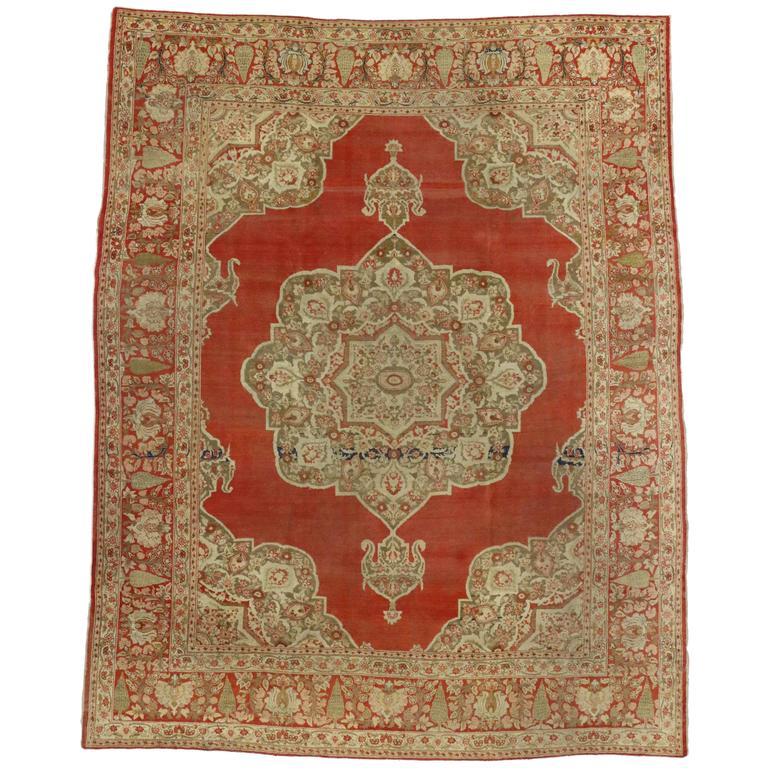Haji Khalili Antique Persian Tabriz Rug with Modern Style