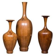 Collection of Three Art Deco Timber Vases, De Coene Frères, Belgian circa 1940