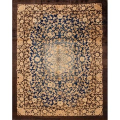 Vintage 1920s Brown and Blue Chinese Art Deco Fette Rug