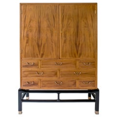 Jørgen Berg, Exceptional Danish Mahogany, Lacquer and Patinated Brass Cabinet