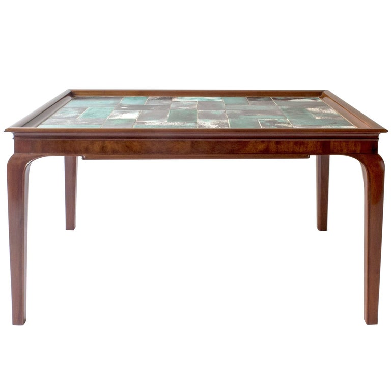 Frits Henningsen & Jens Thirslund, Rare Danish Mahogany & Tile-Top Coffee Table