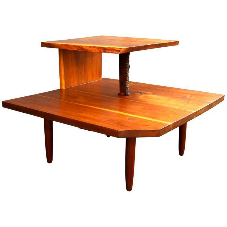George Nakashima Free Edge Two-Tier Table For Sale