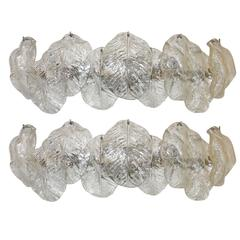 Pair of Italian Murano Mazzega Clear Leaf Wall Light Sconces