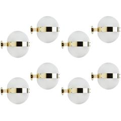 "Eight Glass and Brass ""Clio"" Wall or Ceiling Lights by Sergio Mazza"