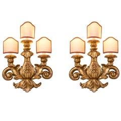 Pair of 19th Century Italian Sconces Carved Gilt Wood Three-Light Wall Lights