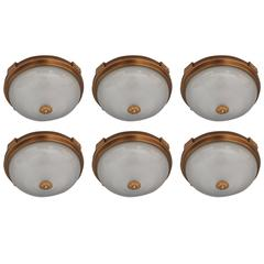6 Fine French Gilded Brass Flush Mounts with Fluted Glass Shades