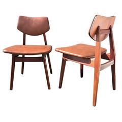 Walnut and Leather Jens Risom Dining Chairs C276, Set of Six