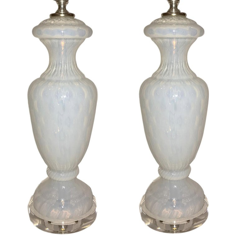 White Glass Table Lamps