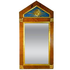 19th Century, Austrian Biedermeier Mirror with Carved Water Gilt Gold Sun Burst