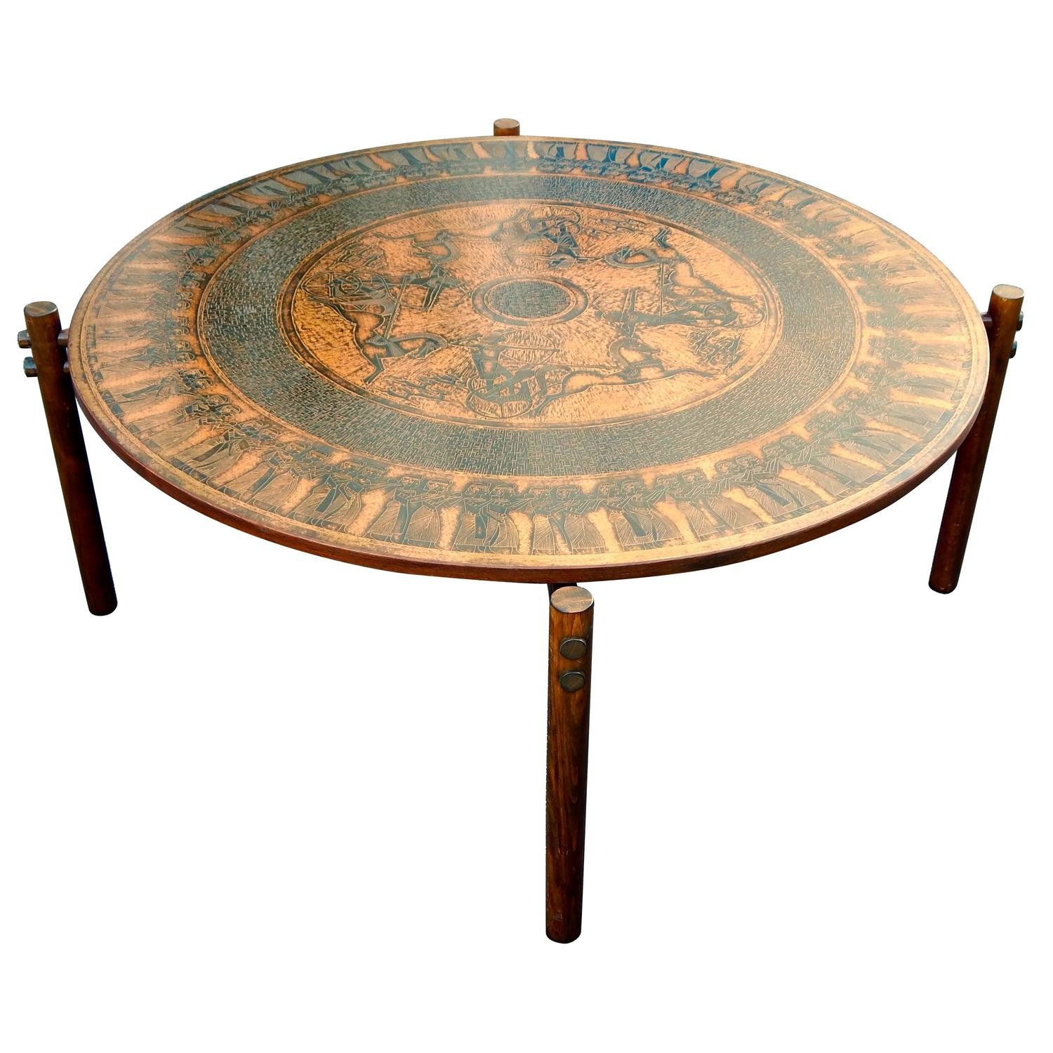 Stamped Copper Egyptian Themed Coffee Table Norway 1960 For Sale