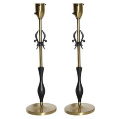 Pair of Rembrandt Lamp Co. 1950s Brass & Black Fleur-de-LIs Black Handled Lamps