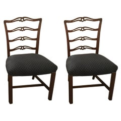 A Pair of  1930s Mahogany Georgian Style Ladder Back Dining Chairs