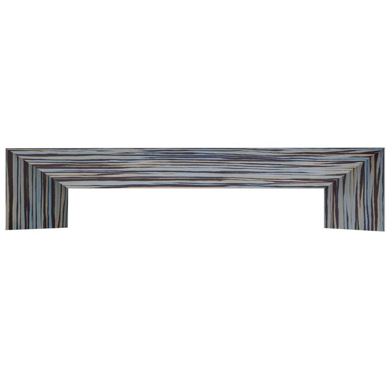 Contemporary Minimal Limited Edition Ecowood Multicolored Veneer Tuck Bench, USA For Sale