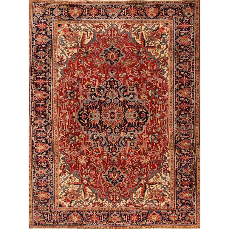Antique Rust and Blue Persian Heriz Rug For Sale