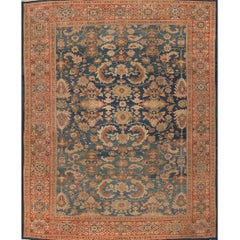 Antique Rust and Blue Sultanabad Rug