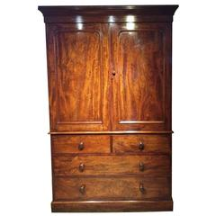 19th Century Mahogany Linen Press, circa 1860