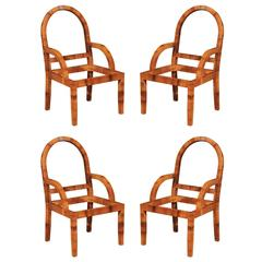 Outstanding Restored Set of Four Vintage Cane Chairs by Bielecky Brothers