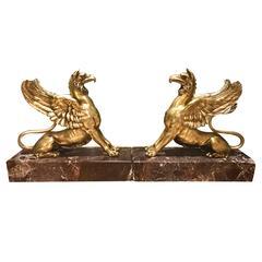 Pair of Regency Bronze Griffins