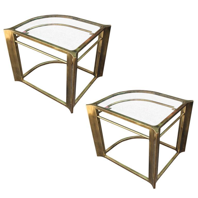 Pair Of Modern Triangular Mastercraft Brass Side / End Tables 1