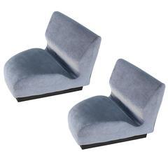 Pair of Herman Miller Chadwick Modern Modular Triangular Chairs Grey Velvet