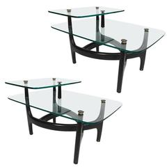 Pair of MCM Glass Top Side Tables