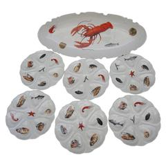 Fish Set Including a Large Platter and Six 1960s French Porcelain Oyster Plates