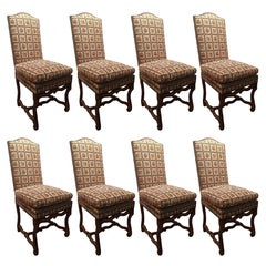 Set of Eight Italian Walnut and Upholstered Dining Chairs, 20th Century