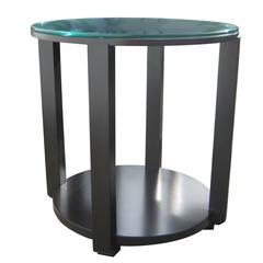 Ottavia Contemporary Round Solid Wood Occasional Table in with Steel Detai