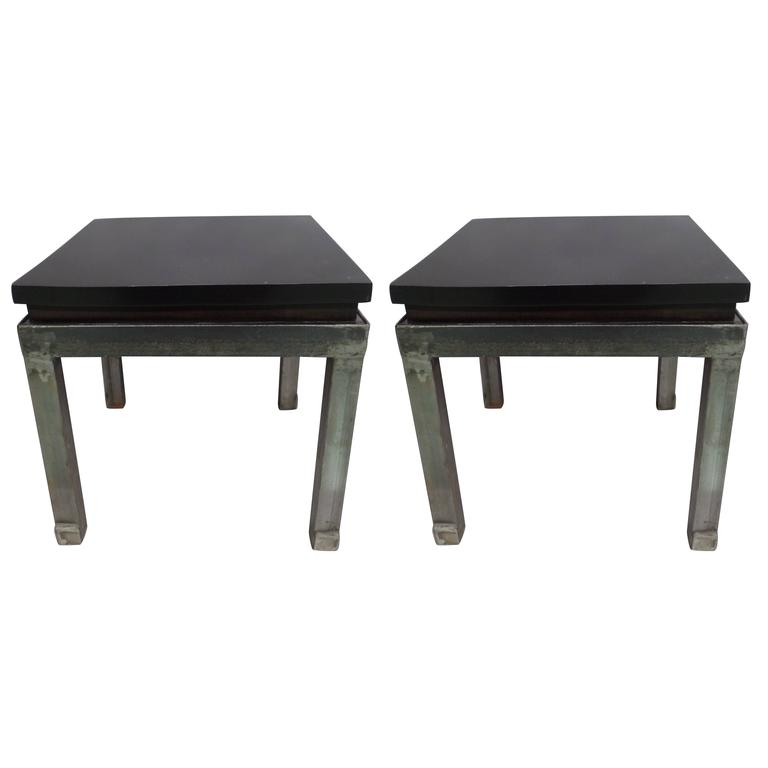 Pair of French 1930s Steel and Mahogany Benches or Side Tables 1