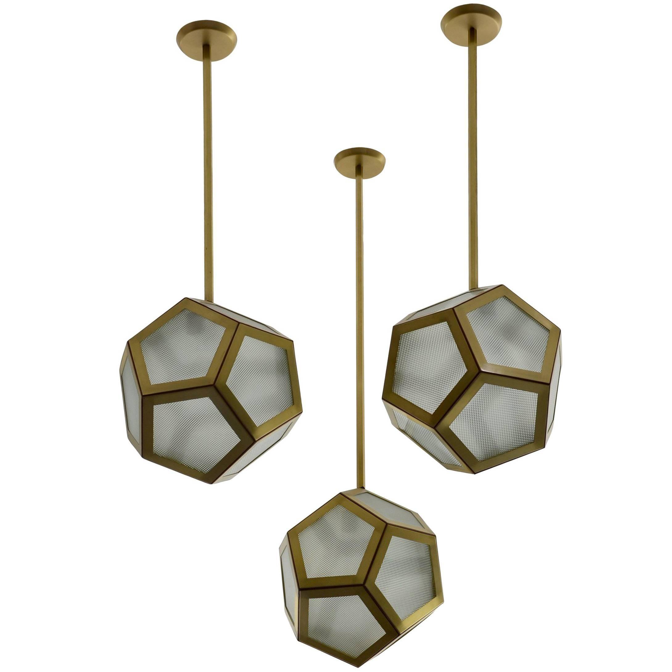 Large Cluster Chandelier of Three Pentagone Lanterns by Design Frères