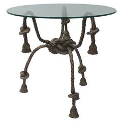 Maison Jansen Style Solid Brass Rope Table