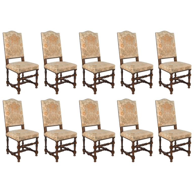 Set Of 10 French Louis XIII Style Dining Chairs For Sale