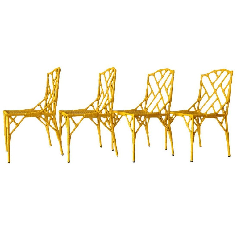 Set of 4 Faux Bamboo Metal Patio Chairs by Venemen of California, ca. 1960