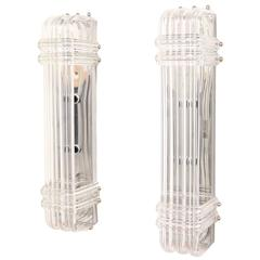 Pair of Mid-Century Modern Lucite Ribbon Sconces