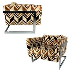 Pair of Milo Baughman T-Back Cube Lounge Chairs