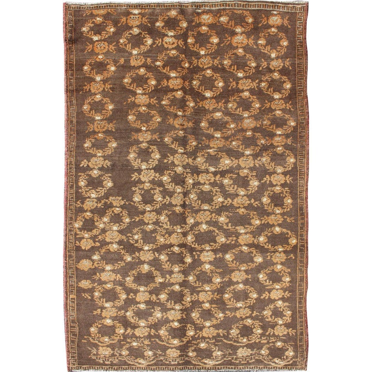 All-Over Floral Wreath Design Turkish Oushak Rug with Brown Background