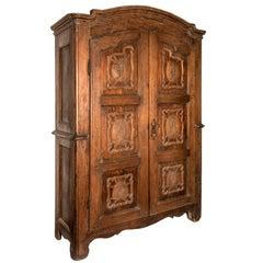 18th Century Italian Two-Door Wardrobe Antique Carved Poplar Armoire