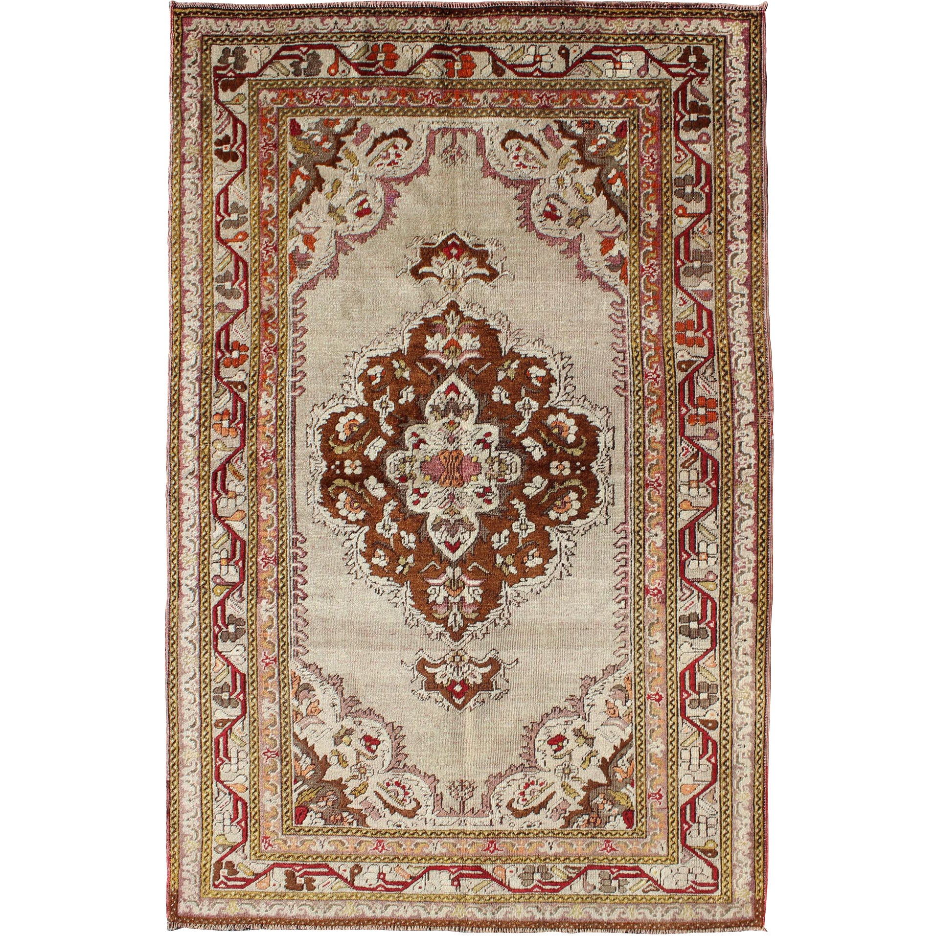 Antique Turkish Oushak with Brown Medallion and Taupe Background and Red Accents