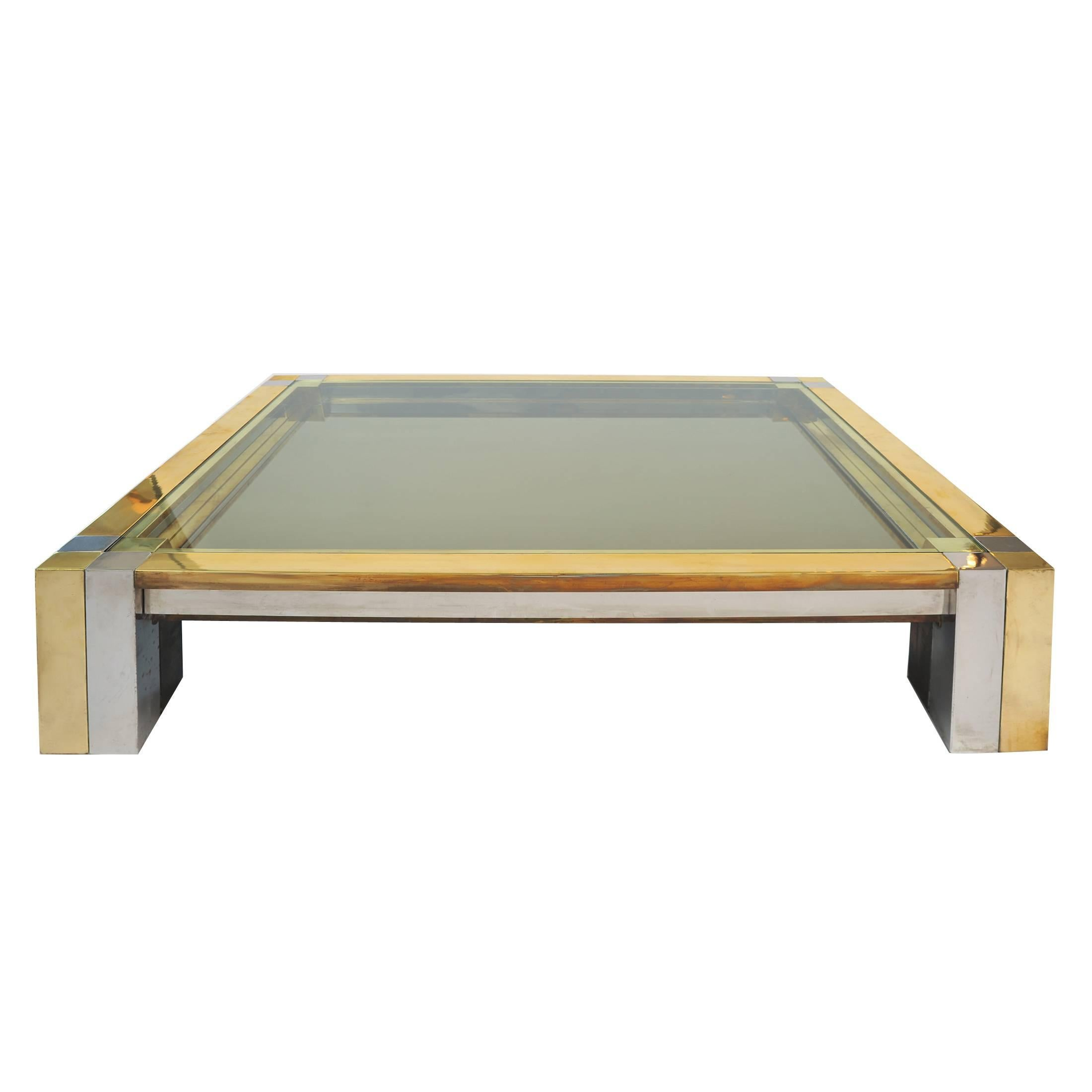 Pair Of Chrome And Glass Coffee Tables, Nucci Valsecchi, Italy,