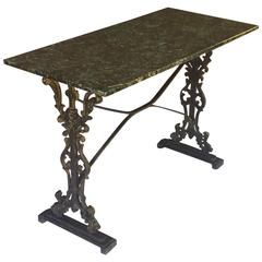 English Pub or Bistro Tables of Cast Iron with Granite Top (Pair Available)