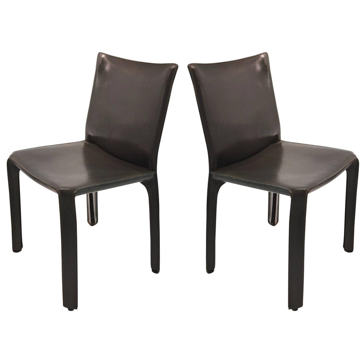 Pair of Gray Leather 412 CAB Chairs Mario Bellini for Cassina For