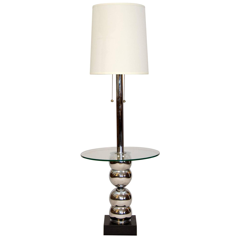 mid century floor lamp table chrome u0026 glass